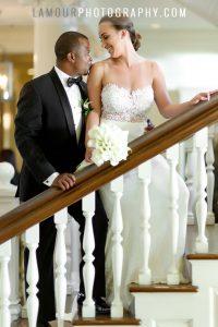 Lace sheath wedding dress on destination bride in Waikiki
