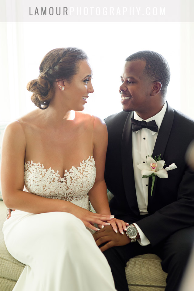 Bride in stunning lace cutout wedding dress in Hawaii