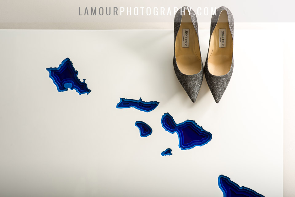 Bride wore silver sparkle Jimmy Choo shoes for destination wedidng in Maui