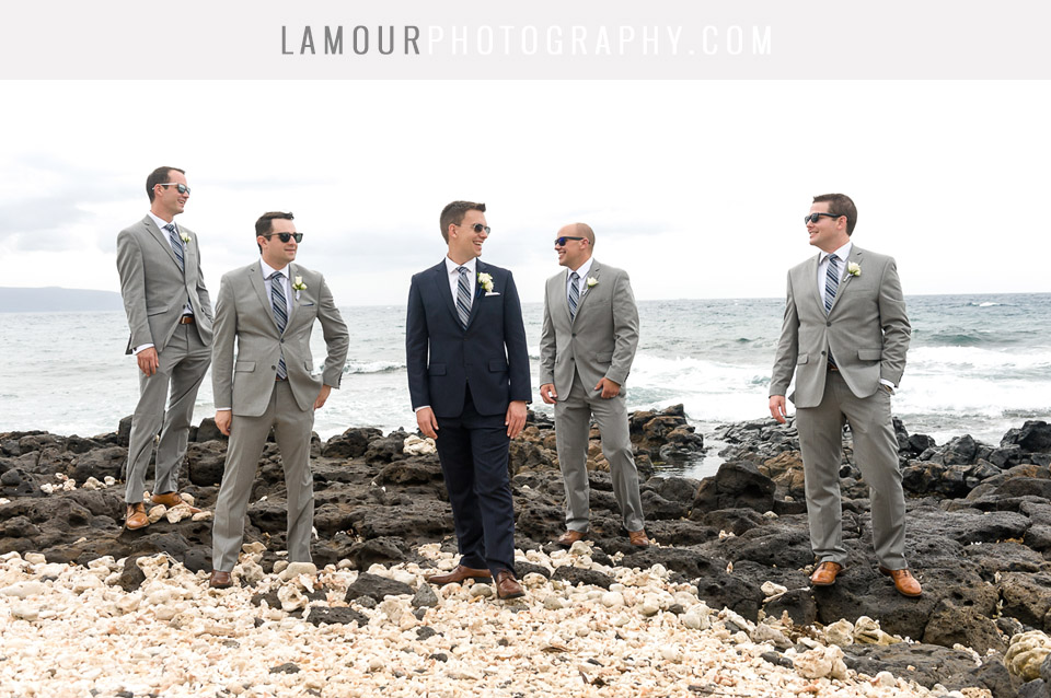 Hawaii beach wedding groomsmen in grey or navy suits and striped ties