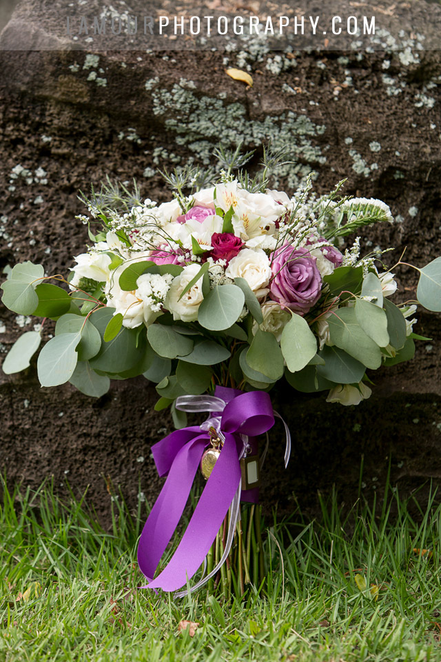 Hawaii wedding bouquet with greenery, white and purple flowers