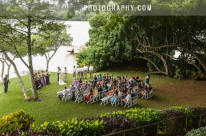 Wedding ceremony by the water at Kualoa Ranch