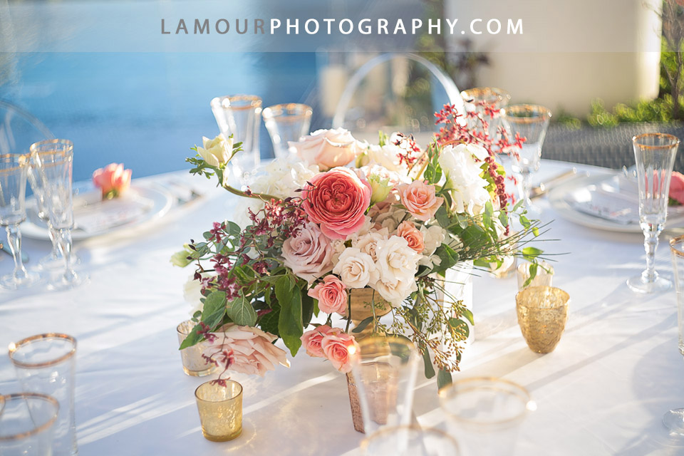 Blush and Pink wedding centerpiece for Hawaii wedding on Oahu