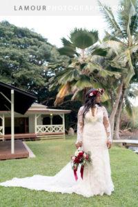 Hawaii wedding photos of Kualoa Ranch Wedding at Molii Gardens on Oahu