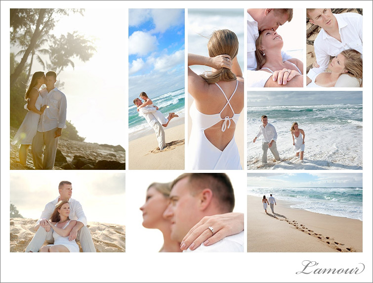 Sunset Beach Oahu engagement wedding photographs