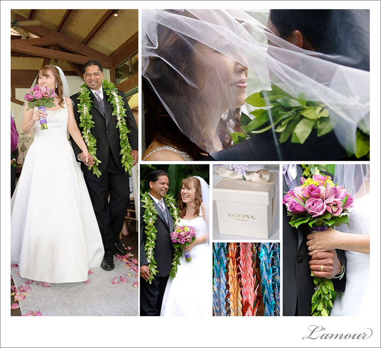 Oahu Wedding Photographer, purple color theme ceremony in chapel