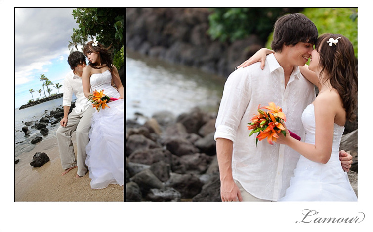 Waialae Beach wedding portraits by L'amour Photography in Oahu Hawaii