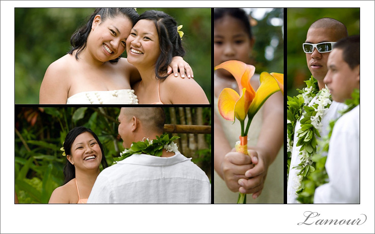 Orange colored sheath wedding dress at a Hawaiian destination wedding