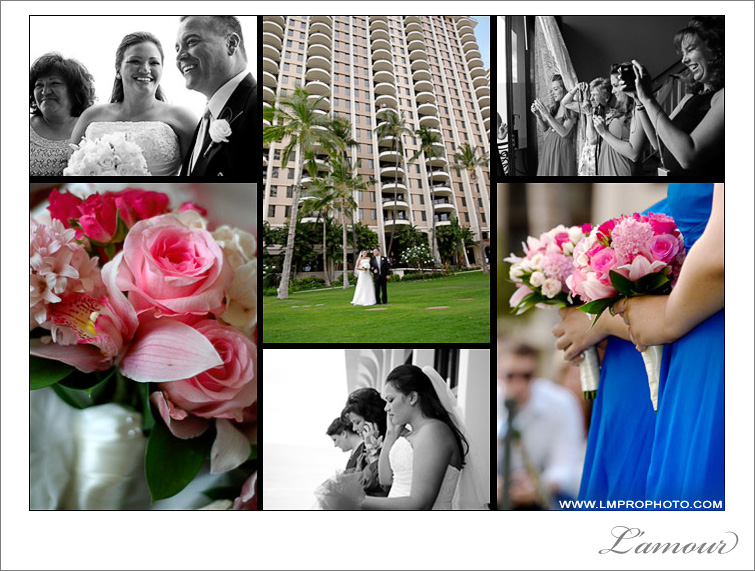 Bright pink and blue colre theme for this oahu wedding ceremony