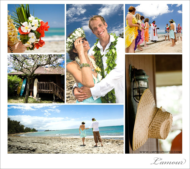 Destination beach wedding on a north shore private estate on oahu with photography by L'amour