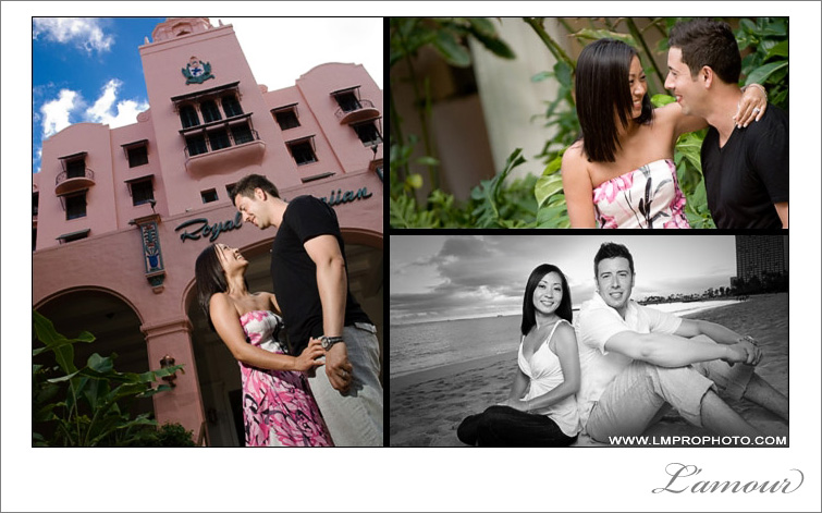 Oahu Engagement portraits taken at the royal hawaiian hotel and waikiki beach