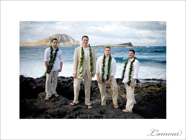 Groom and Groomsmen group portrait at Makapuu Beach on Oahu taken by L'Amour Photography