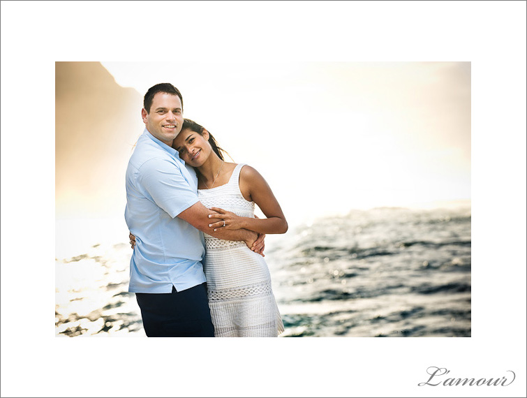 Sunset Engagement Portraits on Oahu Hawaii taken by L'Amour Photography