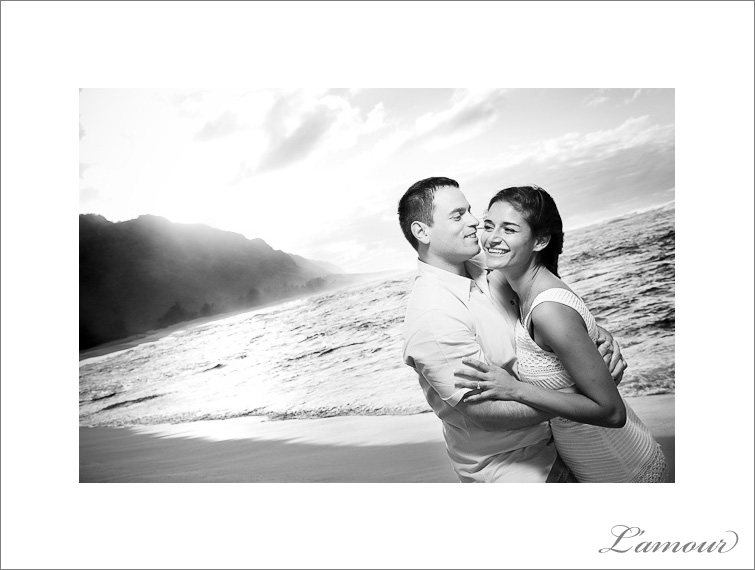 Black and White Engagement Photos on Oahu Hawaii by L'Amour Photography