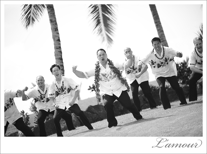 Groom and Groomsmen in Aloha shirts show their stuff at a private estate wedding in Hawaii