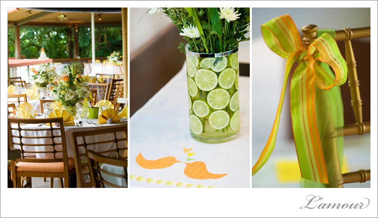 Yellow, Orange, Green Wedding color scheme