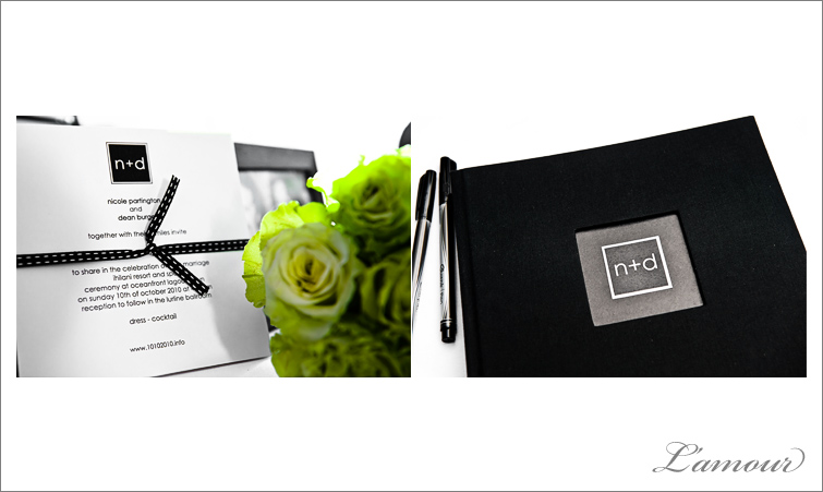 Green black and white wedding theme