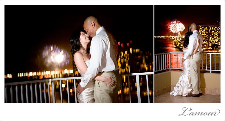 Hawaii Wedding Photography fireworks show from Tiki's Grill and Bar Coconut Club