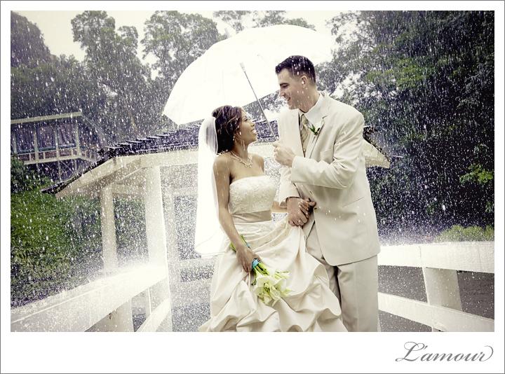 beautiful rainy wedding day portrait