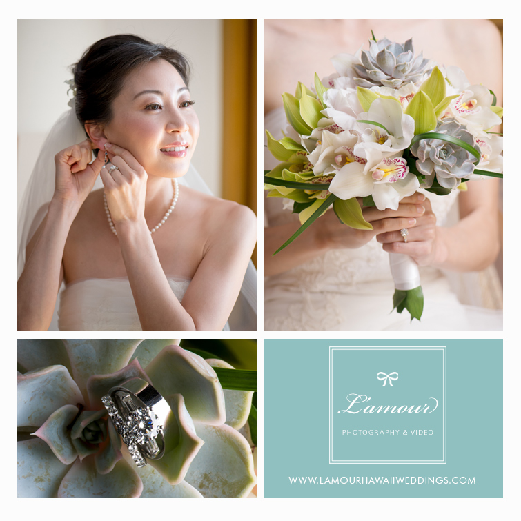 Hawaii Bride holds succulent bouquet and wedding rings