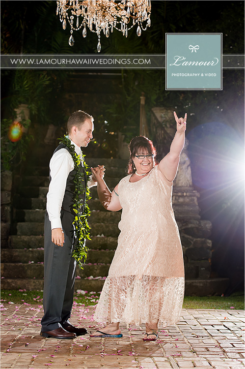 First dance at Hawaii wedding between mother and son