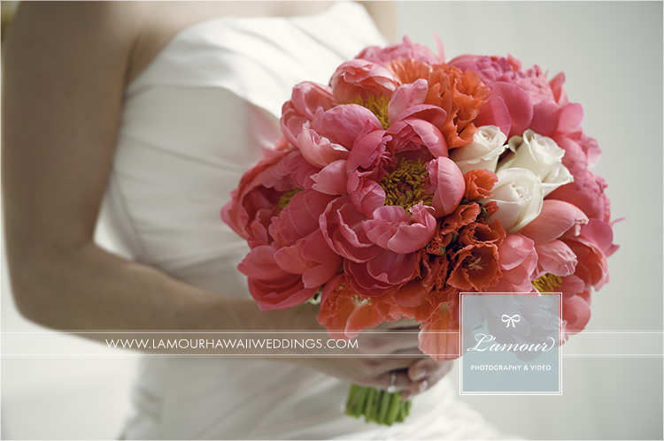 bright pink peonies wedding bouquet