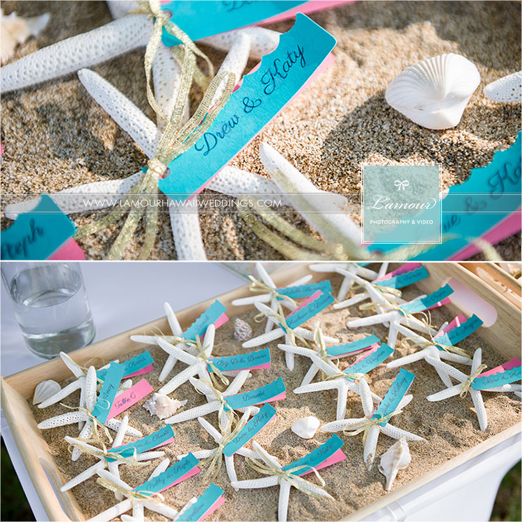 Hawaii wedding details of starfish place holders