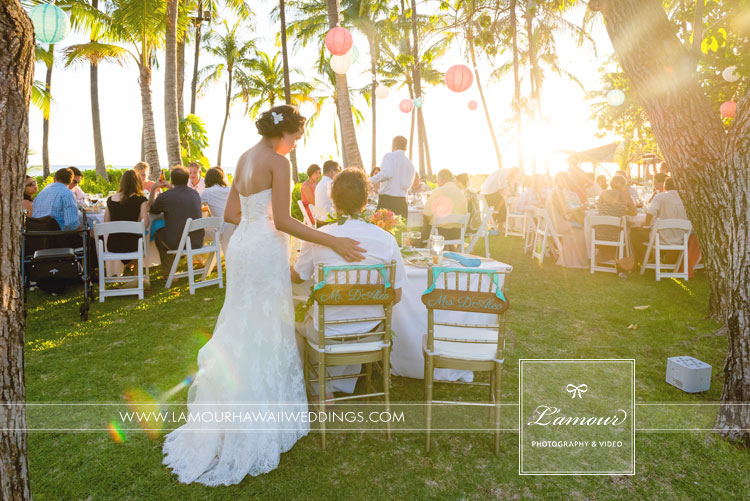 Hawaii wedding reception photography by L',aour at Lanikuhonua Wedding
