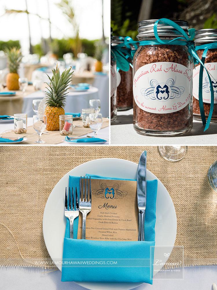 Hawaii wedding details pineapples seahorses