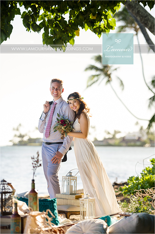 Hawaii wedding photography and video of Lamour photographers Eric and Wendy on beach in Oahu