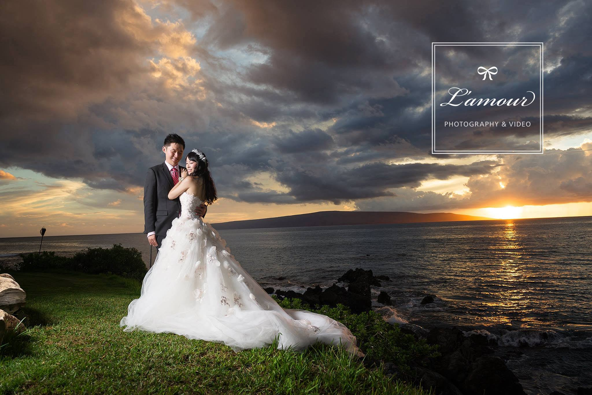 Hawaii Wedding Photography of beach sunset by Lamour