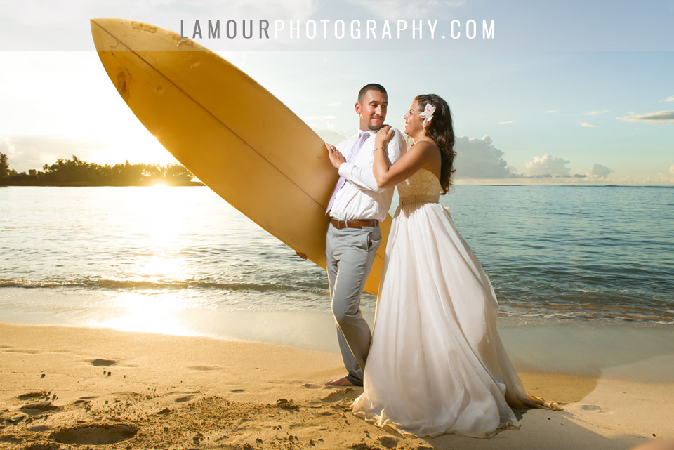 Turtle Bay wedding photography by L'Amour Photo and Video of sunset portraits at the beach