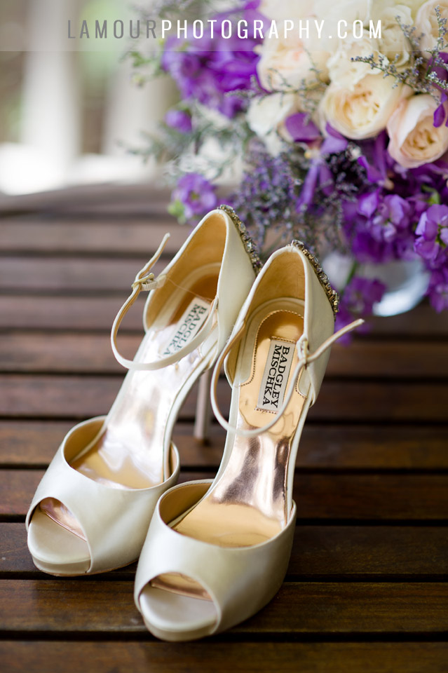 Badgley Mischka wedding shoes for Hawaii Destination wedding on Oahu by L'Amour with purple and white flowers