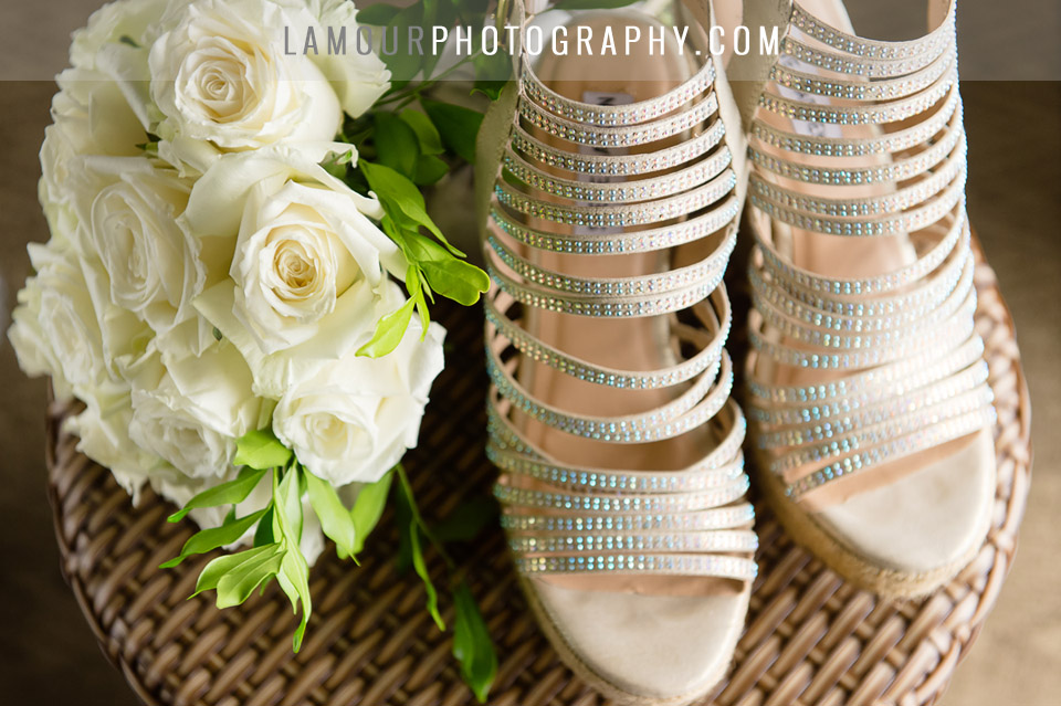 sparkly wedding shoes for destination wedding in Hawaii