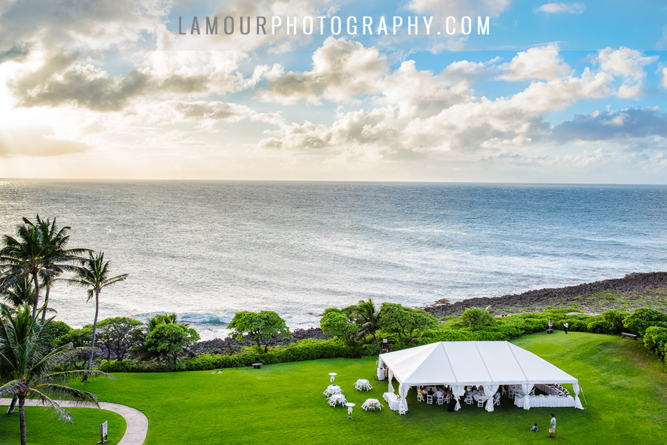 Turtle Bay outdoor reception after beach wedding