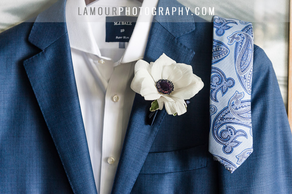 hawaii wedding groom blue suit and paisley tie white anemone boutonniere