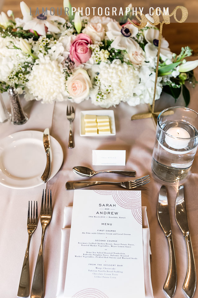 blush pink and gold hawaii wedding reception at Moana Surfrider