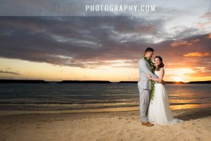 Bride and Groom sunset photo on wedding in Waikiki Hawaii