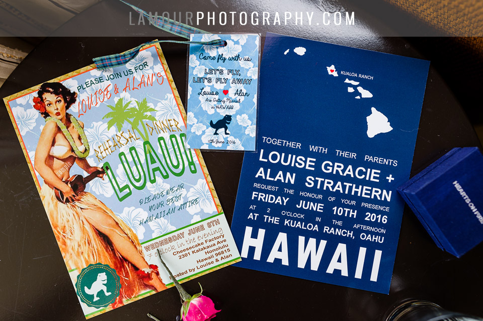 cute Hawaii wedding invitations for Waikiki wedding on Oahu by L'Amour