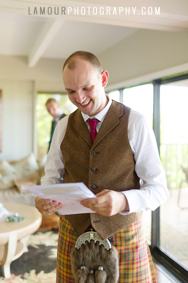 groom in Kilt gets ready in Hawaii for wedding