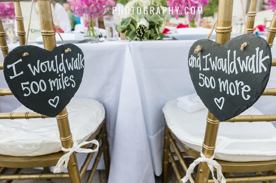 Wedding reception bride and groom heart sign I would walk 500 miles