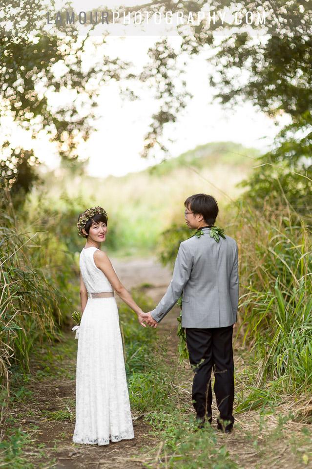 wedding dress with sheer cutouts for hawaii wedding on maui