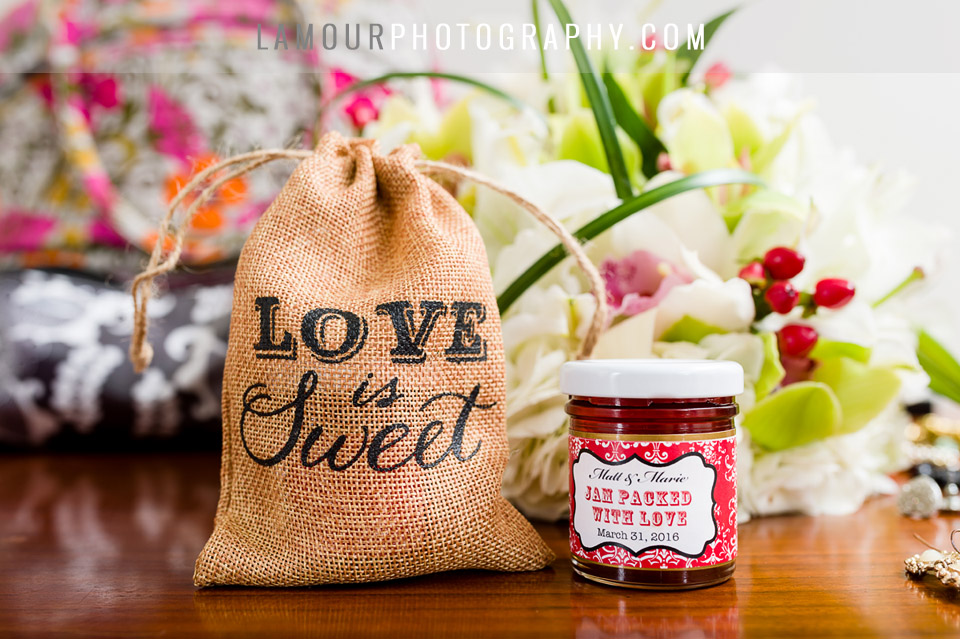 love is sweet wedding favor jar of jam