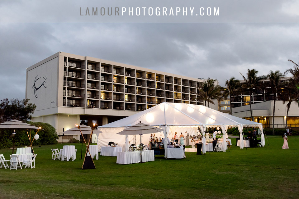 turtle bay resort wedding reception lawn with white tent oceanfront