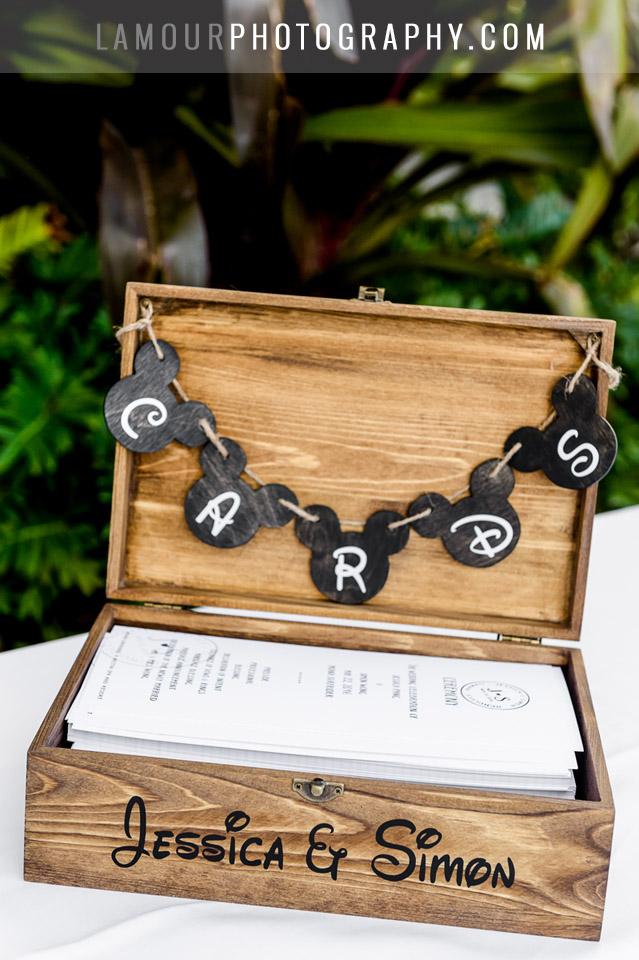 disney themed wedding card box at wedding on oahu