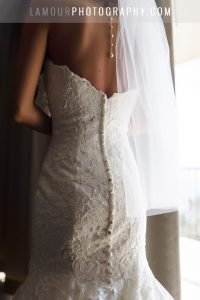 lace wedding dress with mermaid train in hawaii
