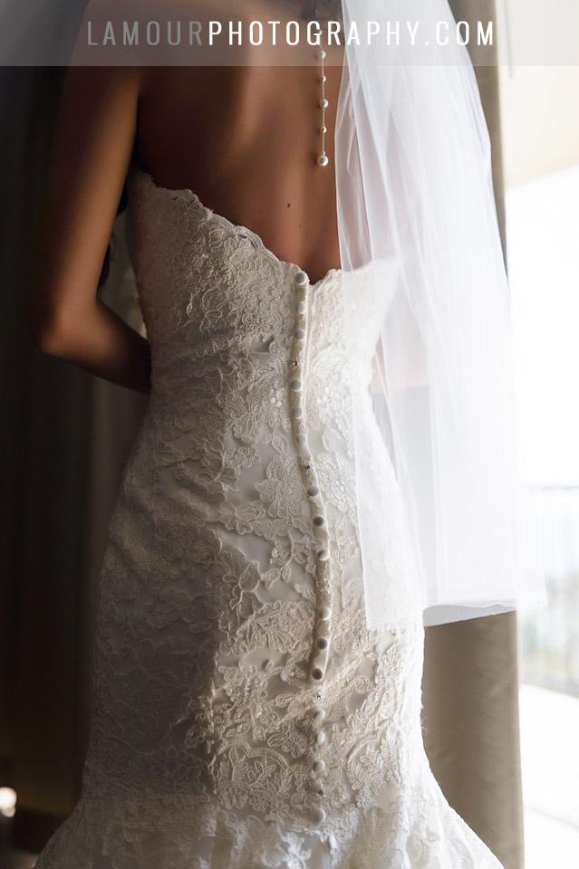 lace wedding dress with mermaid train in hawaii