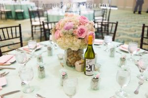 wine bottle centerpiece with corks
