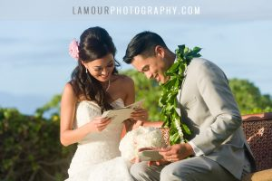 cute wedding cards to bride and groom during wedding ceremony at turtle bay