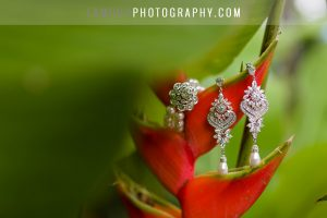 tropical flowers and diamond jewelry for wedding in Hawaii